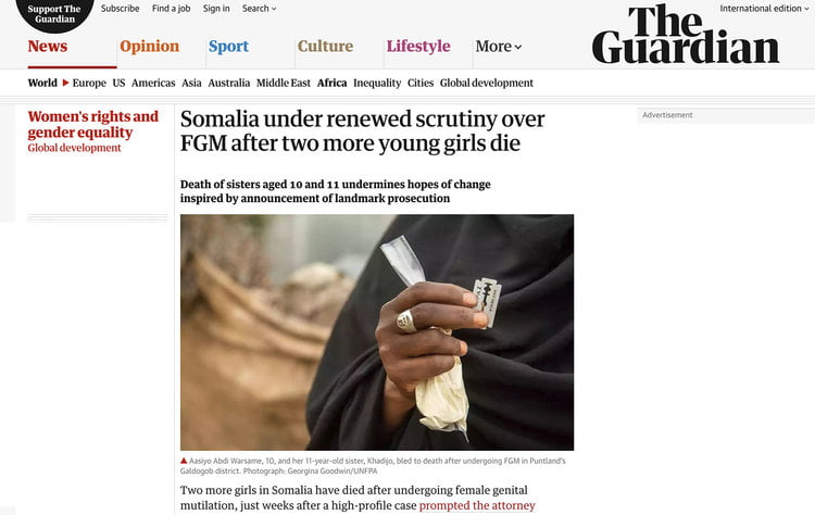 Somalia under renewed scrutiny over FGM after two more young girls die