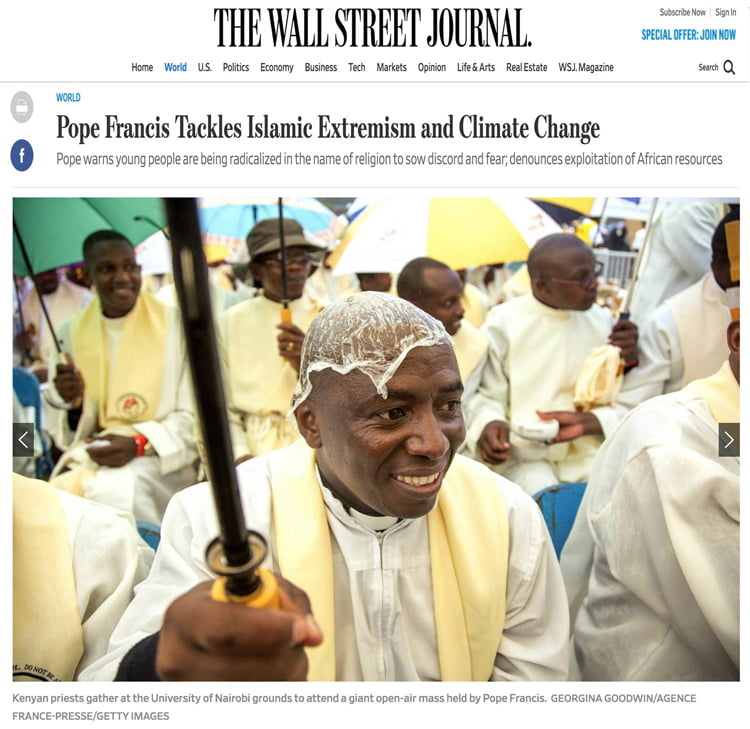 Pope Francis Tackles Islamic Extremism and Climate Change