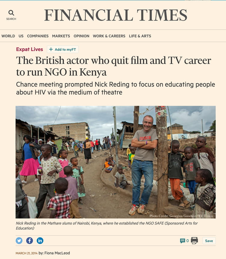 The British actor who quit film and TV career to run NGO in Kenya