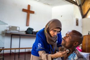 A Lions Club doctor health camp in Nairobi's Kibera slum, providing support for diabetes to low income families.